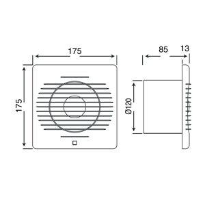 BES LED Badkamer - Toilet - Ventilator - 175mm - 15W - 120m3