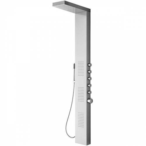 Douche Concurrent Douchepaneel Mikos 158x20x7cm RVS Thermostaatkraan Regendouche Massagejets