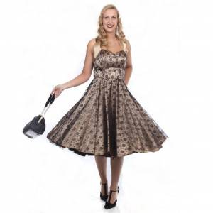 Dress Satin Champagne Lace Zwart
