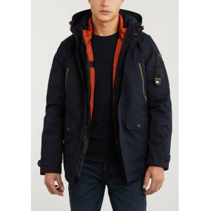 PME Legend Hooded Jacket Course Twill + Wiber  - NAVY - Size: Large