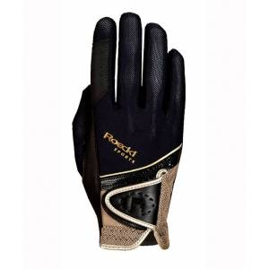 Roeckl Rijhandschoen Madrid Micro Mesh  - black/gold - Size: 8.5