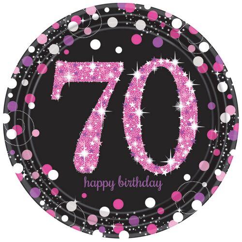 Bordjes 70 jaar stijlvol zwart-roze-zilver