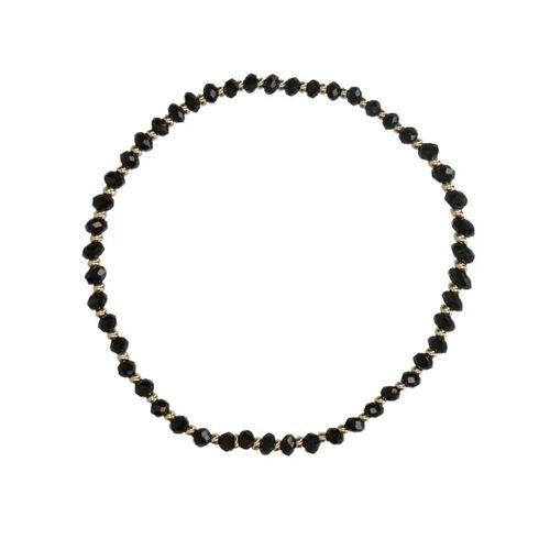 Manfield Gold plated kralenarmbandje met zwarte kralen  - zwart
