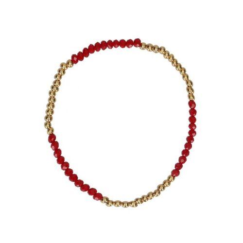 Manfield Gold plated kralenarmbandje met rode kralen  - rood