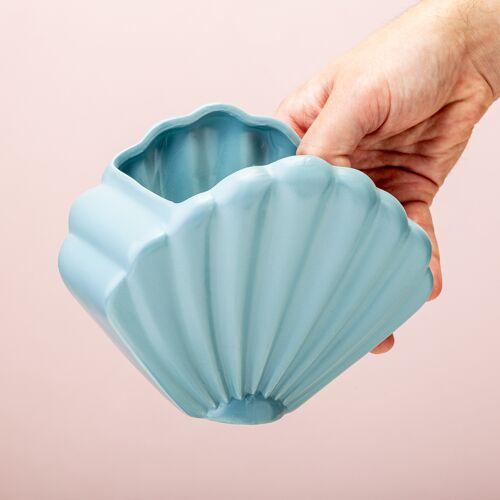 Bitten Schelp Bloempot - Blauw/groot