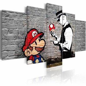 Karo-art Schilderij - Super Mario Mushroom Cop - Banksy, Zwart-Wit/Rood, 5luik  - Size: 200x100cm