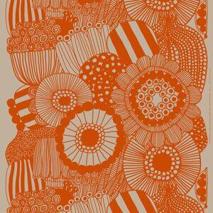 Marimekko Siirtolapuutarha linnen stof Beige-oranje