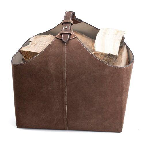Ørskov brandhout-houder suede bruin
