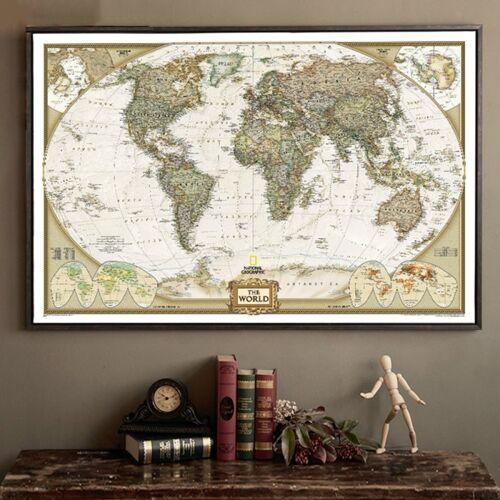 Antieke poster Wall Chart retro matte Kraft papier wereldkaart grootte: 40X60cm
