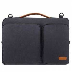 Nylon waterdichte laptop handtas tas voor 15-15.6 inch laptops met kofferbak trolley riem (zwart)