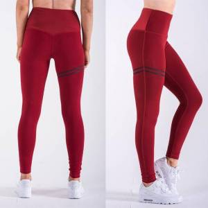 2 PCS High Elastic Fitness Sport Leggings Slim Running Sportswear SportsPants Dames Yoga Broek Sneldrogende Trainingsbroek (Rood)