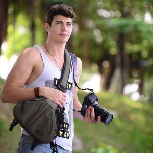 Canon CADEN driehoek vorm Tscope slinger Cross Digitale Camera schoudertassen hoesje zachte tas met regen dekken voor Canon Nikon Sony K1 Afmeting: 36 * 31 * 15 cm (Army Green)