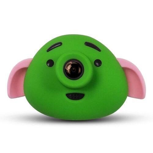Cartoon varken 0 3 mega pixel dual-camera 1 8 inch scherm digitale camera voor kinderen (groen)