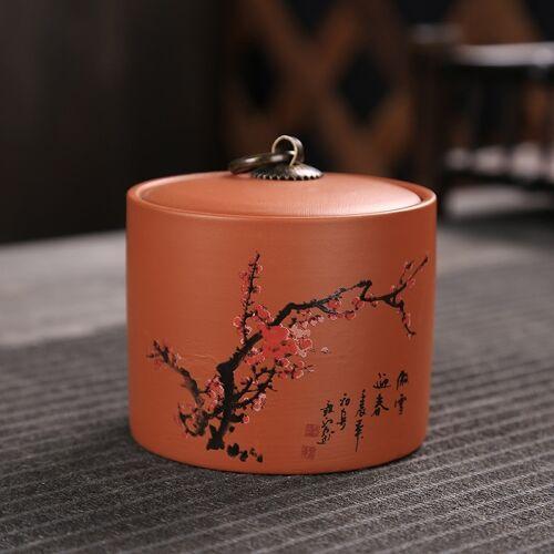 Keramische Redware thee pot opslag verzegeld thee tank (Plum)