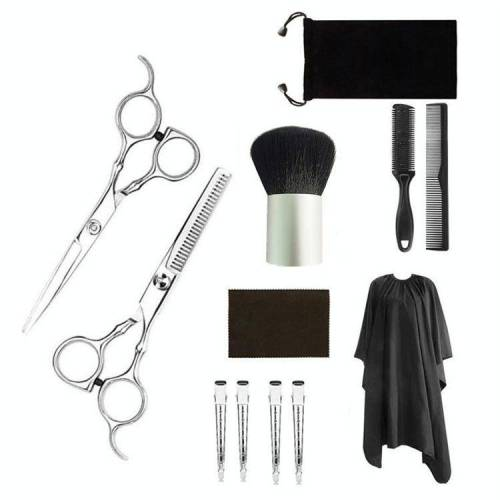 12 PCS Professional Hair Cutting Dunner wordende schaar kapper kapper flat shear schaar schaar kit (goud zilver)