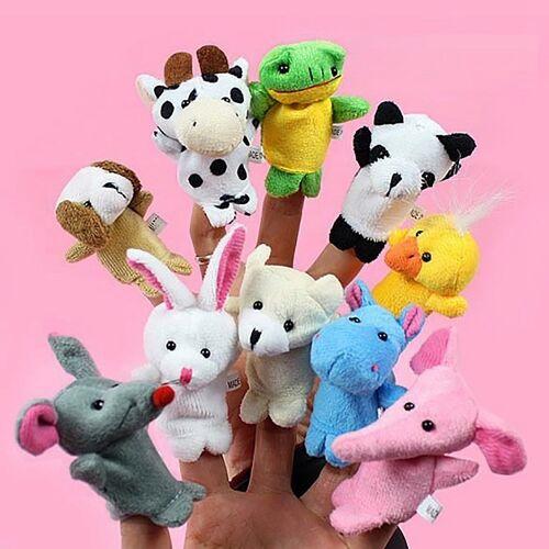 10 stuks verhaal vertellen kinderen marionetten schattig Zoo boerderij dierlijk beeldverhaal vinger knuffel Hand poppen willekeurige kleur levering