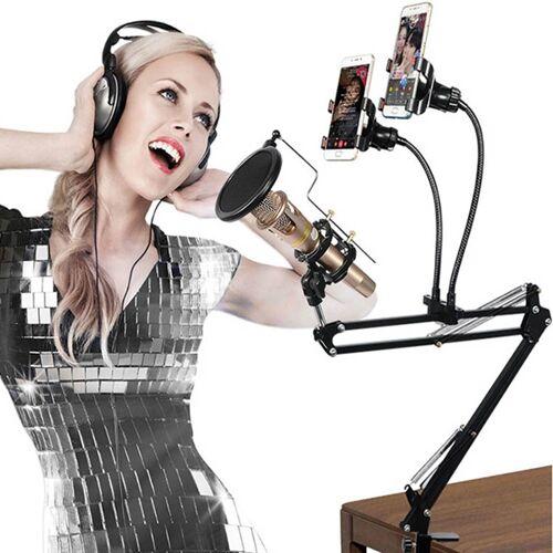 Dual mobiele telefoon K lied beugel 360 graden richting Cantilever multifunctionele lui microfoon Live uitzending beugel