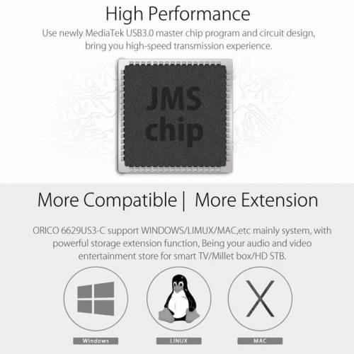 ORICO 6629US3-C USB 3.0 Type-B Docking Station voor twee 2.5 inch / 3.5 inch SATA HDD / SSD harde schijven (zwart)
