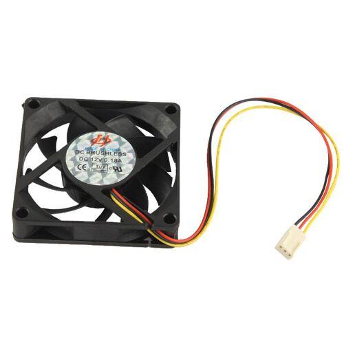 Hoge snelheid 7cm 3-pins koeling Fan(zwart)