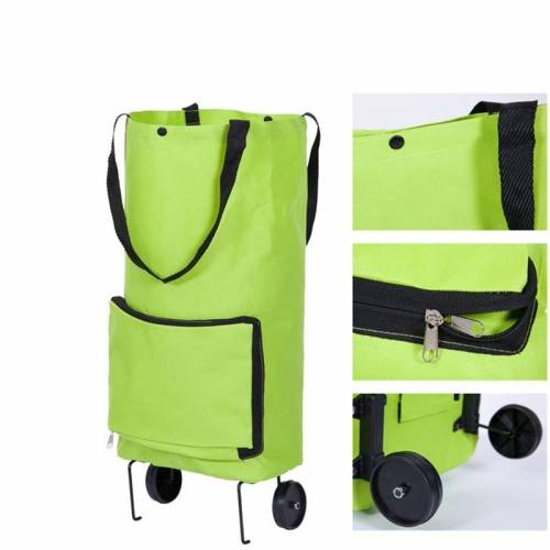 Herbruikbare vouwen draagbare boodschappentassen kopen groenten zak hoge capaciteit winkelen voedsel Organizer trolley tas wielen zak handtas (groen)