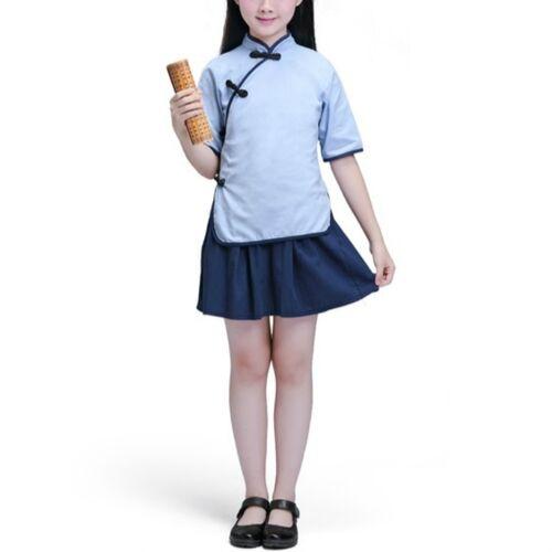 Kinderen Chinese Kleding Hanfu School Uniformen Kids Set Grootte:110cm (Meisje)