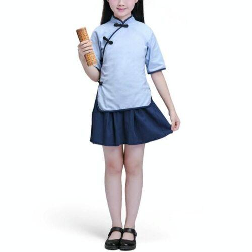 Kinderen Chinese Kleding HanFu School Uniformen Kids Set Grootte:130cm (Meisje)