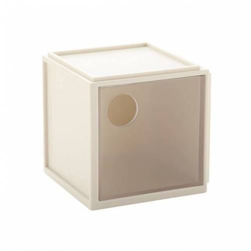 Vierkante plastic desktopopslagvak (Beige)