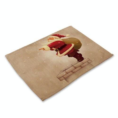 Gedrukte katoen westerse voedsel mat creatieve rechthoek serviesgoed mat (schoorsteen Santa Claus)