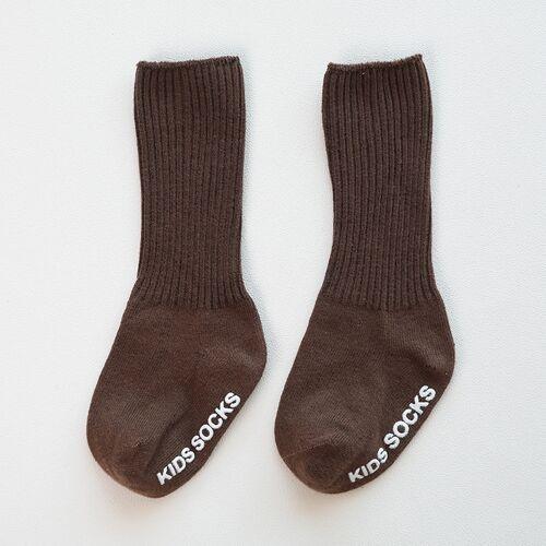 Herfst en winter non-slip baby hoge knie sokken zonder been losse mond dubbele naald kinderen stapel sokken maat: M (koffie)