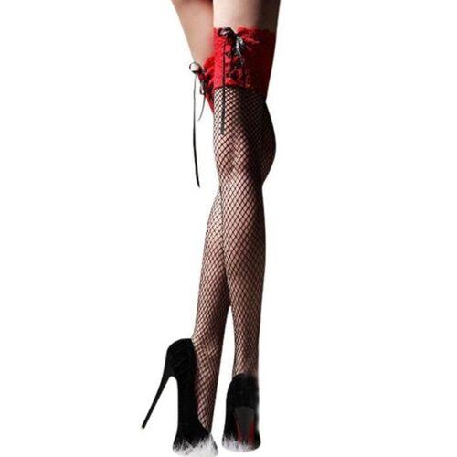 Womens sexy kousen Lace up transparante fishnet kousen highs hosiery netten erotische Lace knie sokken (rood)