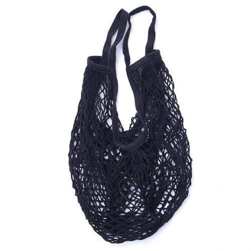 2 PC'S mesh boodschappentas herbruikbare string fruit opslag handtas Totes vrouwen winkelen mesh netto geweven tas winkel kruidenier tote tas (zwart)