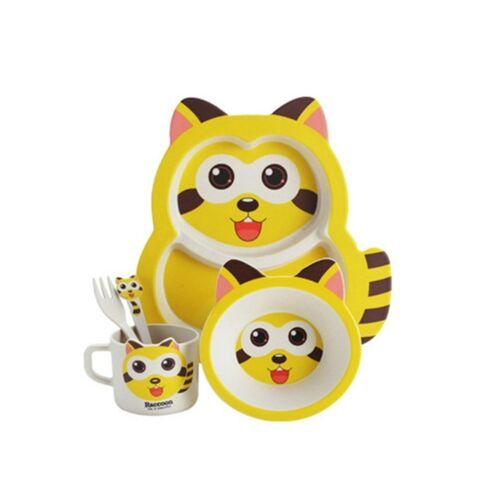 5 stuks/set baby schattige wasbeer voeden voedsel gerechten Kids serviesgoed (geel)