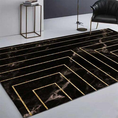 Marmeren textuur vierkante lijnen tapijten tapijten voor thuis woonkamer grootte: 45x75cm (zwart goud)