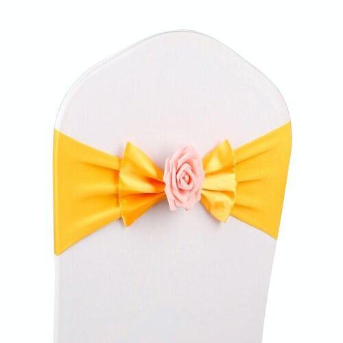 Bruiloft stoel cover sash satijn stof Bow tie lint band decoratie Hotel bruiloft partij ceremonie banket benodigdheden (gouden)