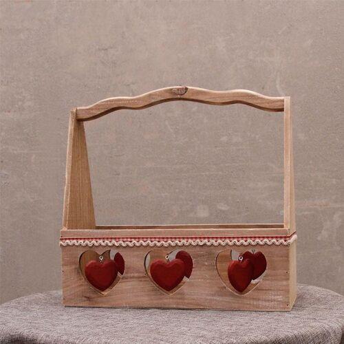 Mooie tuin houten winkelmandje hart decoratie