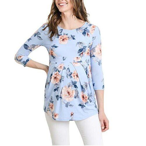 Bedrukte zwangere zwangerschapsblouse kleding, maat: l (lichtblauwe bloem)
