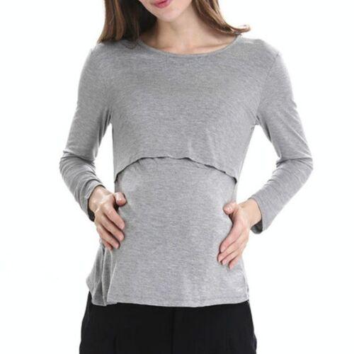 Long Sleeve Zwangerschap Breast Zwangerschapsverzorging Tops voor het voeden van kleding, grootte: L (Grijs)