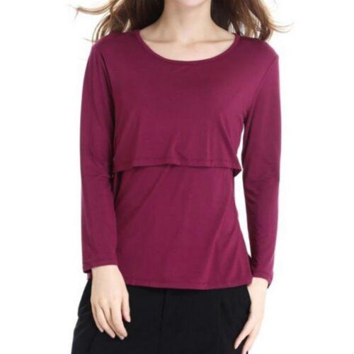 Long Sleeve Zwangerschap Breast Zwangerschapsverzorging Tops voor het voeden van kleding, grootte: XL (Rode wijn)