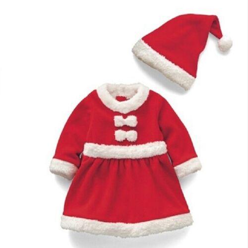 Meisje Santa Claus kostuum + hoed set hoogte: 80cm