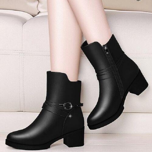 Ronde hoofd laarzen met dikke kant rits laarzen en fluwelen laarzen grootte: 35 (zwart)