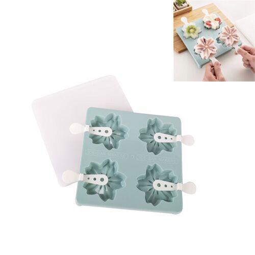 Household 4 Grid Ice Maker Ijsijsvorm met Stick & Lid Style:Cherry Blossoms(Blauw)