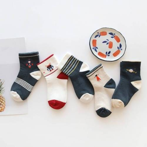 5 paren kinderen herfst winter cartoon sokken voor meisjes Kids grootte: S (Space Group)