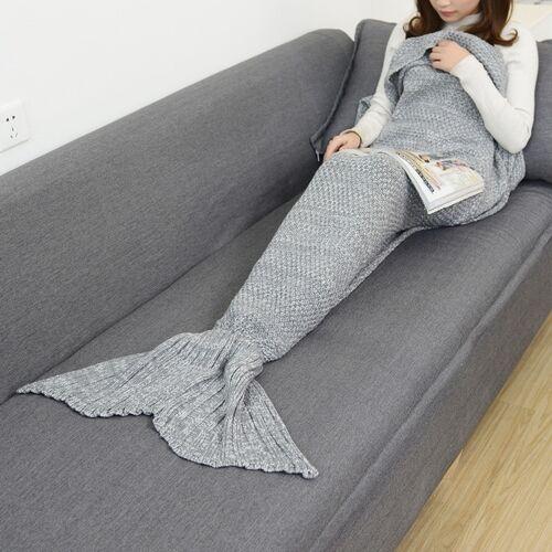 Zeemeermin staart deken voor volwassen super zacht slapen gebreide dekens maat: 90 X50cm (grijs)