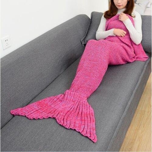 Zeemeermin staart deken voor volwassen super zachte slapen gebreide dekens grootte: 140 X70cm (paars roze)
