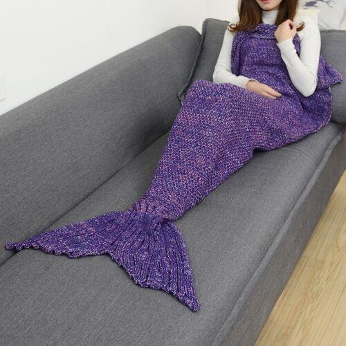 Zeemeermin staart deken voor volwassen super zacht slapen gebreide dekens maat: 180 X90cm (violet)