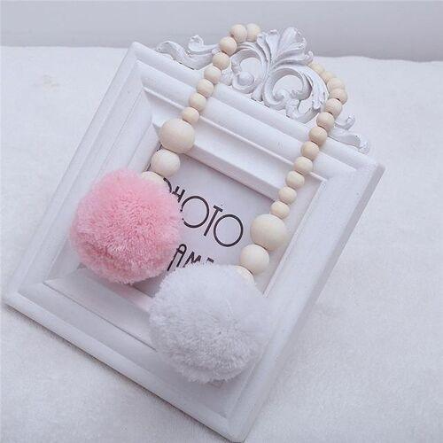 Houten kralen opknoping bal opknoping ornamenten tent decoratie kinderkamer decoratie (roze wit)