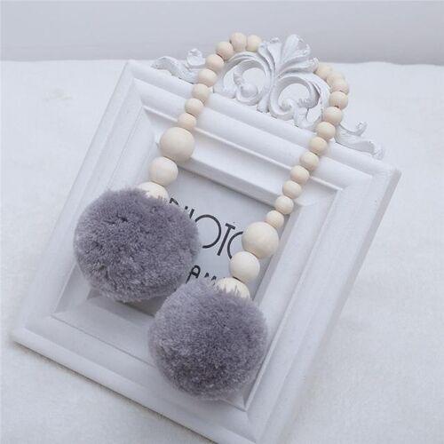 Houten kralen opknoping bal opknoping ornamenten tent decoratie kinderkamer decoratie (grijs)