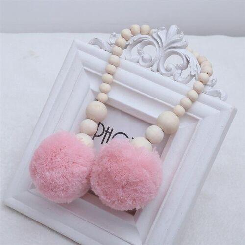 Houten kralen opknoping bal opknoping ornamenten tent decoratie kinderkamer decoratie (roze)