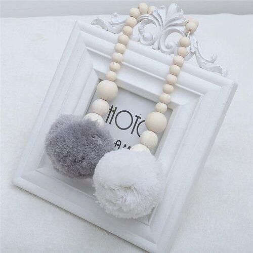 Houten kralen opknoping bal opknoping ornamenten tent decoratie kinderkamer decoratie (grijs wit)