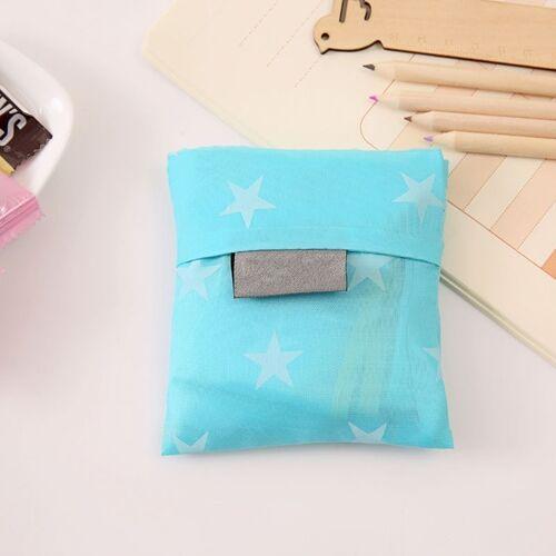 2 stks afdrukken opvouwbare boodschappentas grote capaciteit opslag zakken (licht blauwe pentagram)